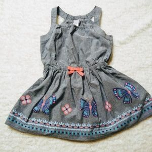 Gymboree denim Romper with butterflies and flowers